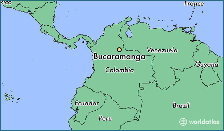 map showing the location of Bucaramanga