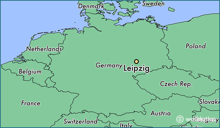 map showing the location of Leipzig