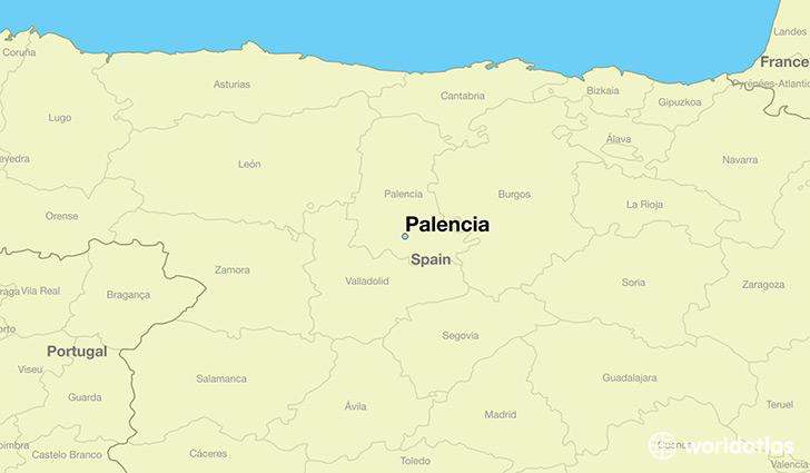 map showing the location of Palencia