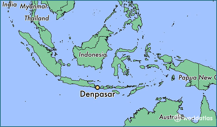 map showing the location of Denpasar
