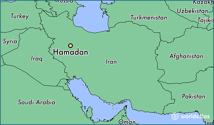 map showing the location of Hamadan