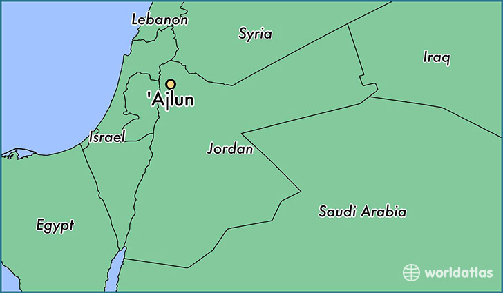 map showing the location of 'Ajlun