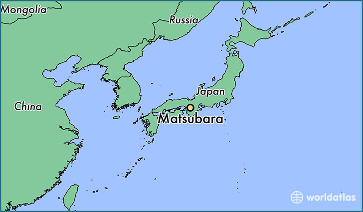 map showing the location of Matsubara