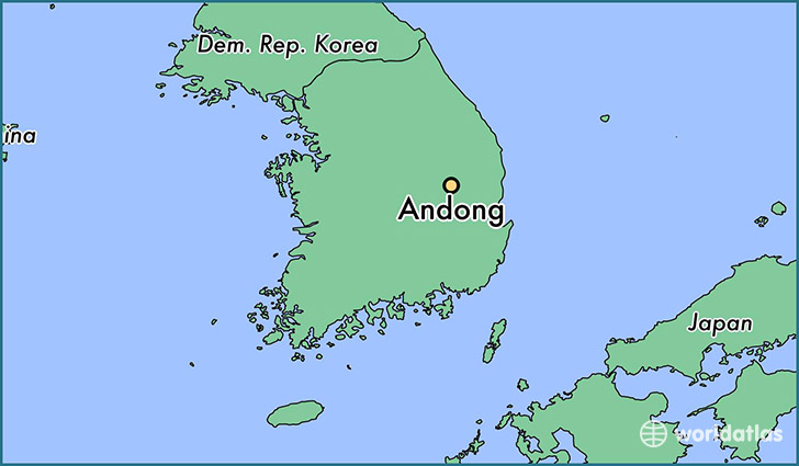 map showing the location of Andong