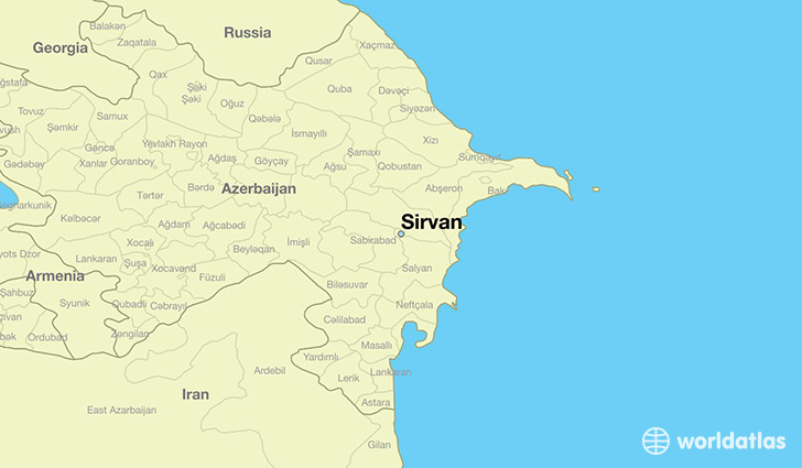 map showing the location of Sirvan