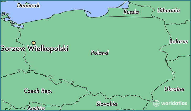 map showing the location of Gorzow Wielkopolski