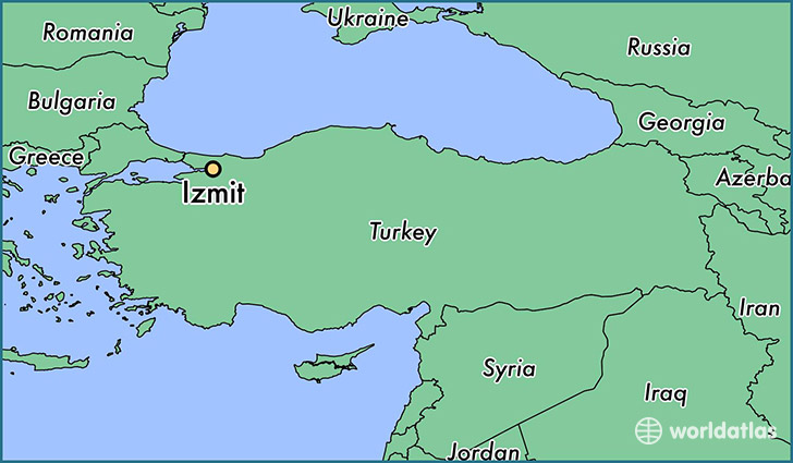 map showing the location of Izmit