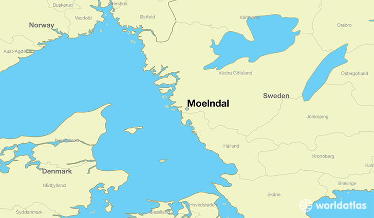 map showing the location of Moelndal