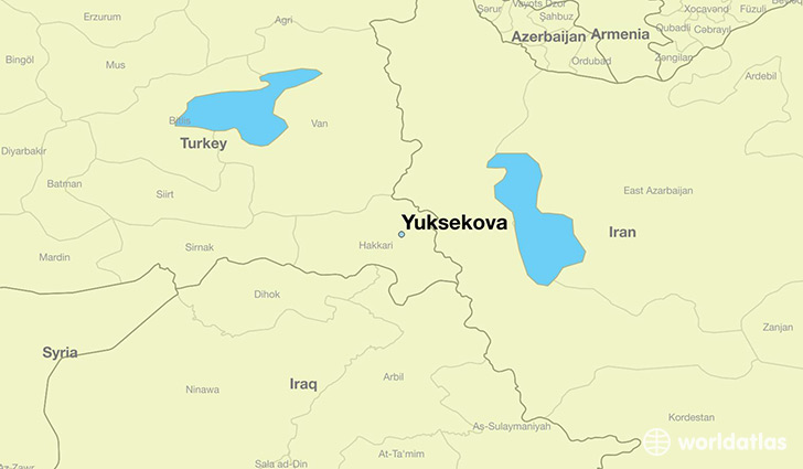 map showing the location of Yuksekova