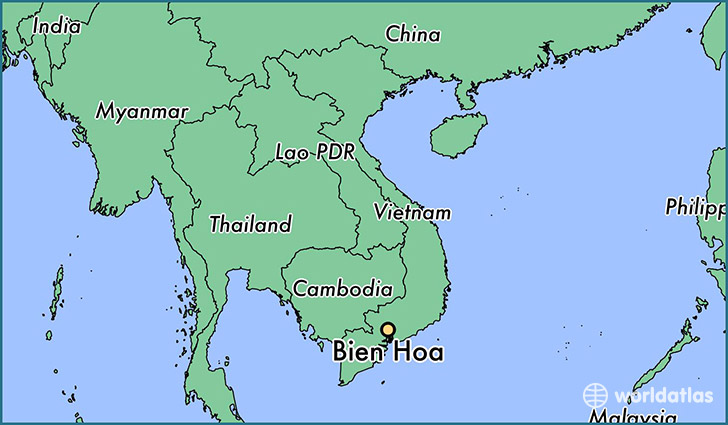 map showing the location of Bien Hoa