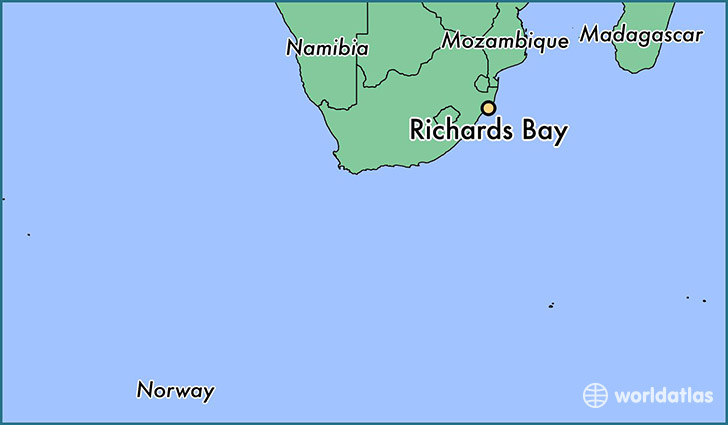 map showing the location of Richards Bay