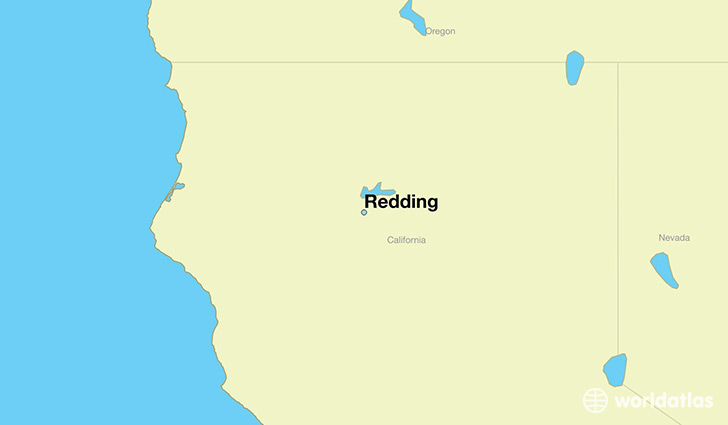 map showing the location of Redding