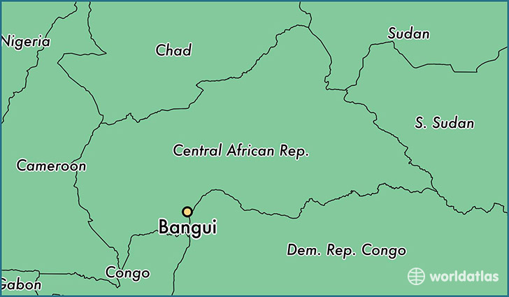 map showing the location of Bangui