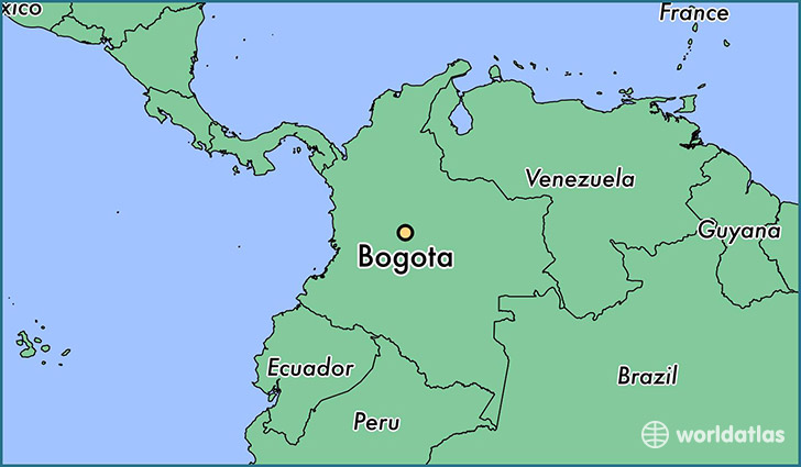 map showing the location of Bogota