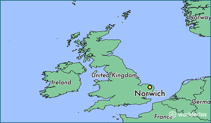 map showing the location of Norwich