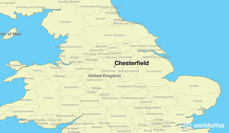 map showing the location of Chesterfield