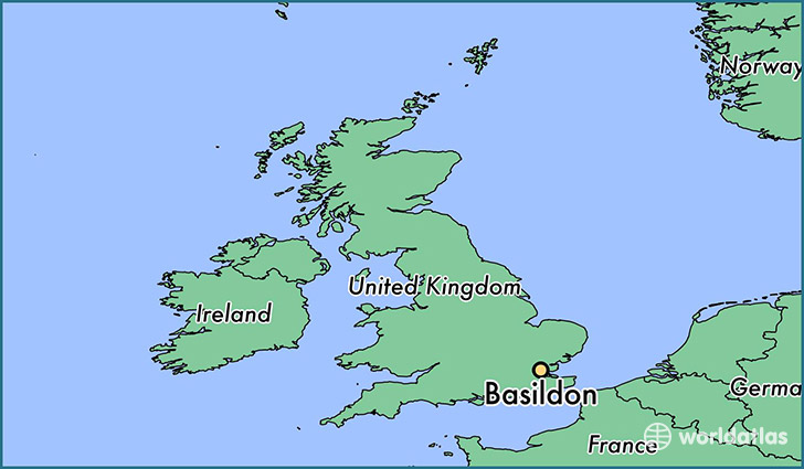 map showing the location of Basildon