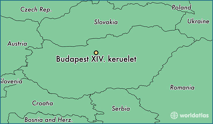 map showing the location of Budapest XIV. keruelet
