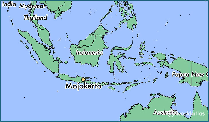 map showing the location of Mojokerto