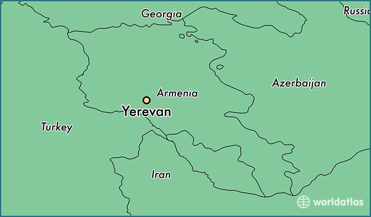 map showing the location of Yerevan