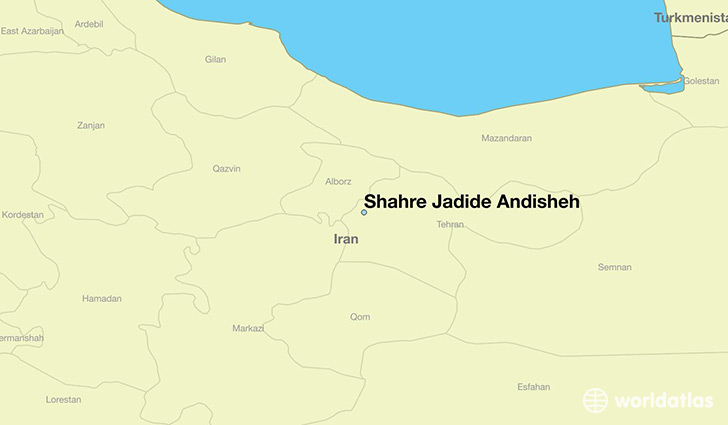 map showing the location of Shahre Jadide Andisheh