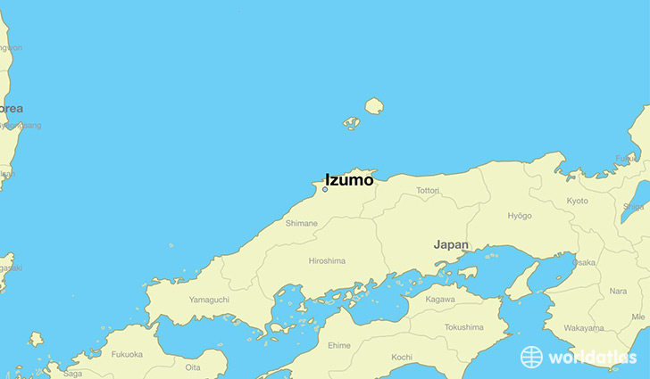 map showing the location of Izumo