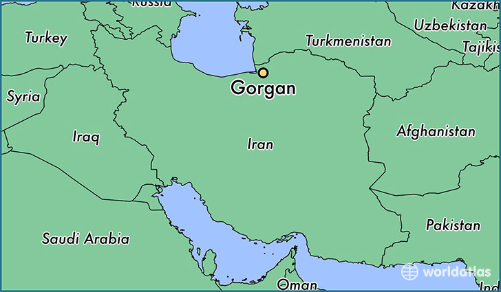 map showing the location of Gorgan