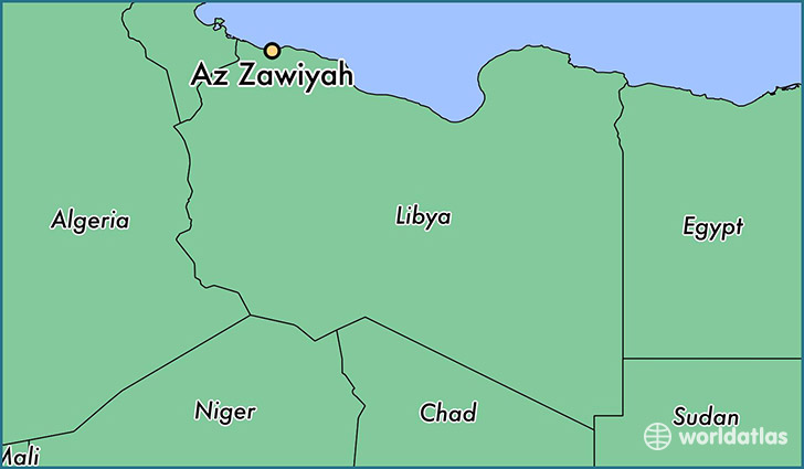 map showing the location of Az Zawiyah