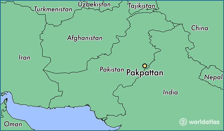 map showing the location of Pakpattan