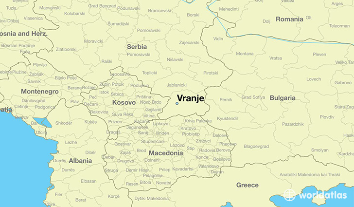 map showing the location of Vranje