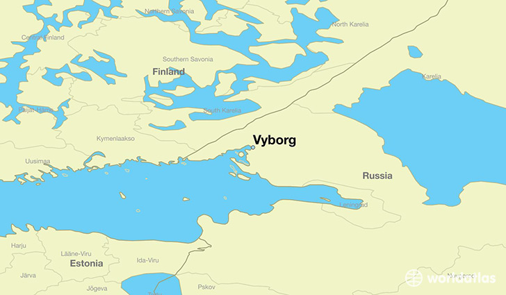 map showing the location of Vyborg