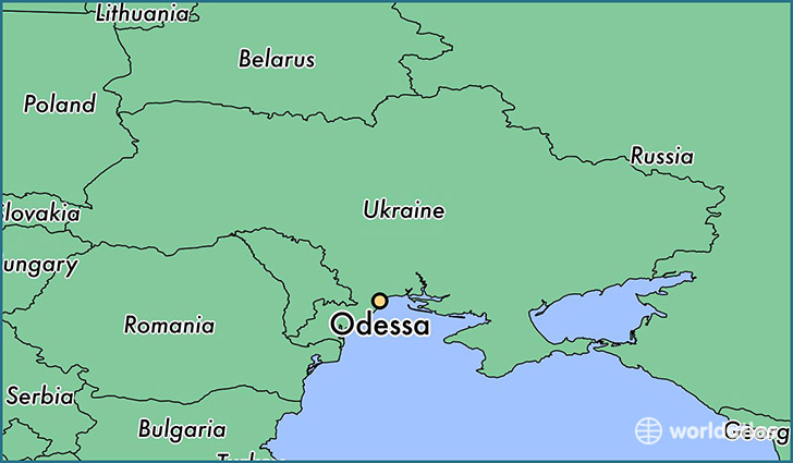 map showing the location of Odessa