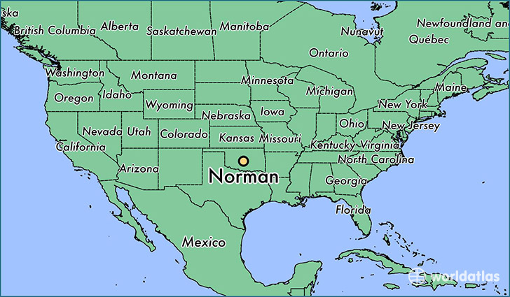 map showing the location of Norman