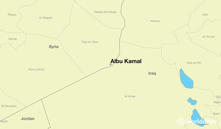 map showing the location of Albu Kamal