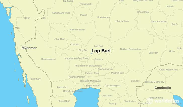 map showing the location of Lop Buri