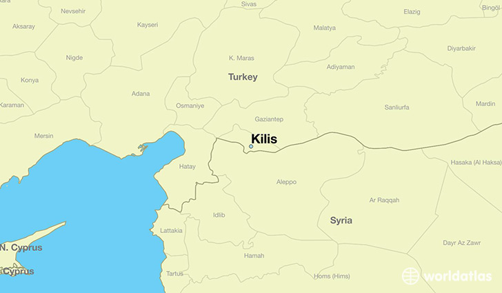 map showing the location of Kilis