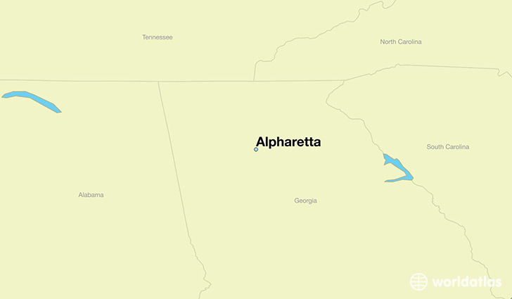 map showing the location of Alpharetta