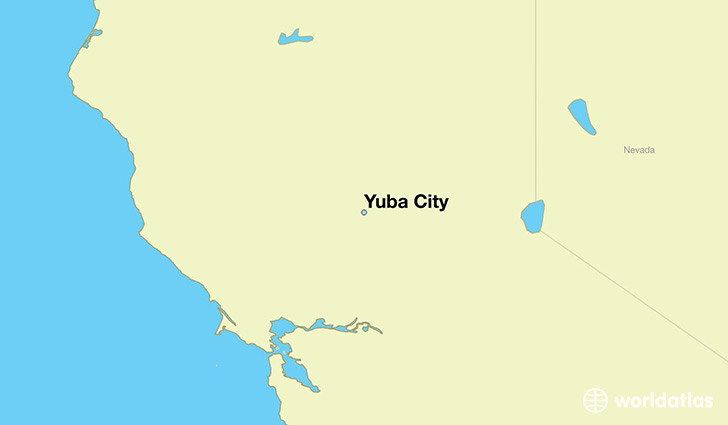 map showing the location of Yuba City