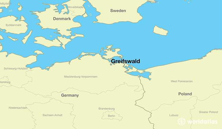 map showing the location of Greifswald
