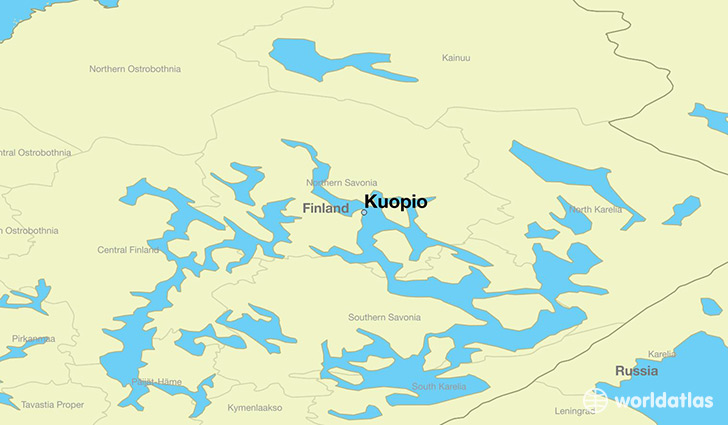 map showing the location of Kuopio
