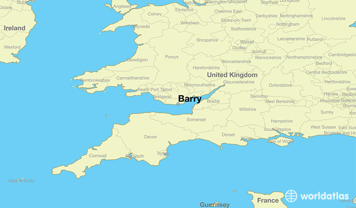 map showing the location of Barry