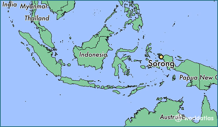 map showing the location of Sorong