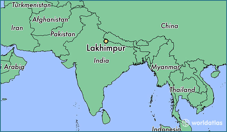 map showing the location of Lakhimpur
