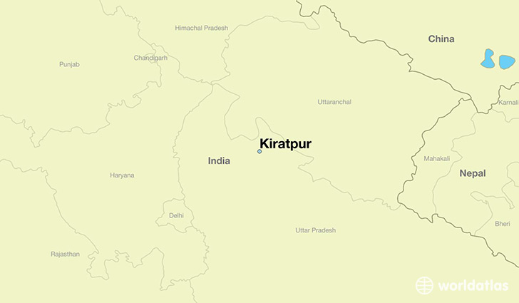 map showing the location of Kiratpur