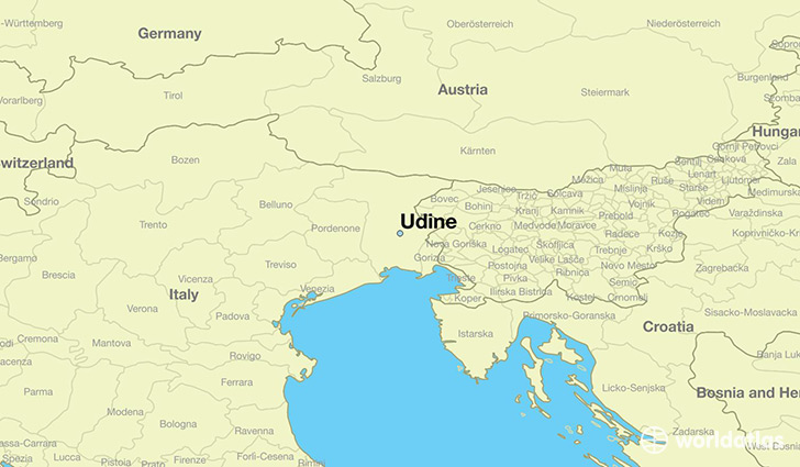 map showing the location of Udine