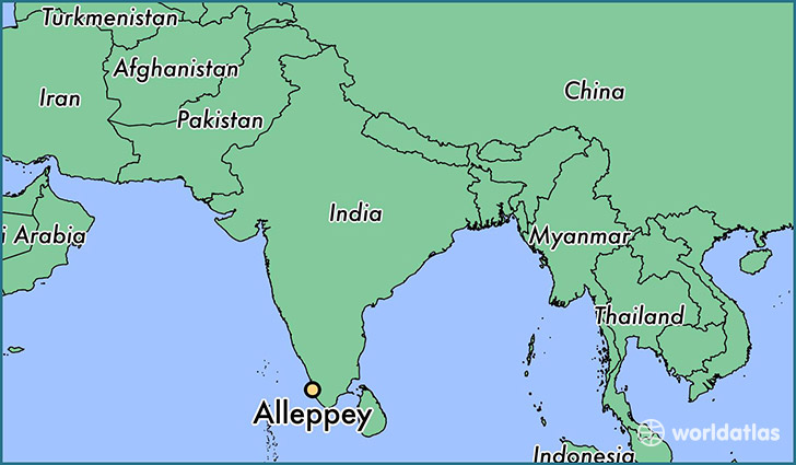 map showing the location of Alleppey