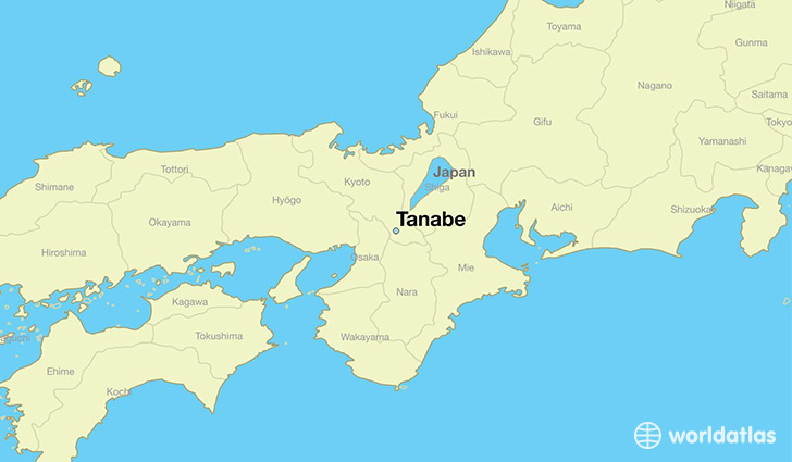 map showing the location of Tanabe