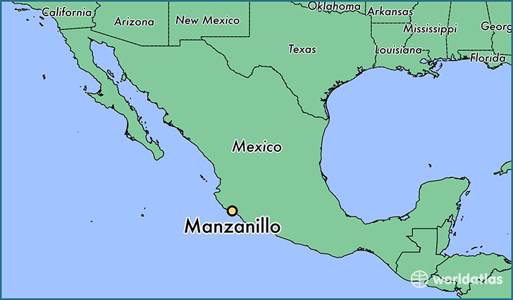 map showing the location of Manzanillo