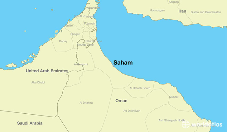 map showing the location of Saham