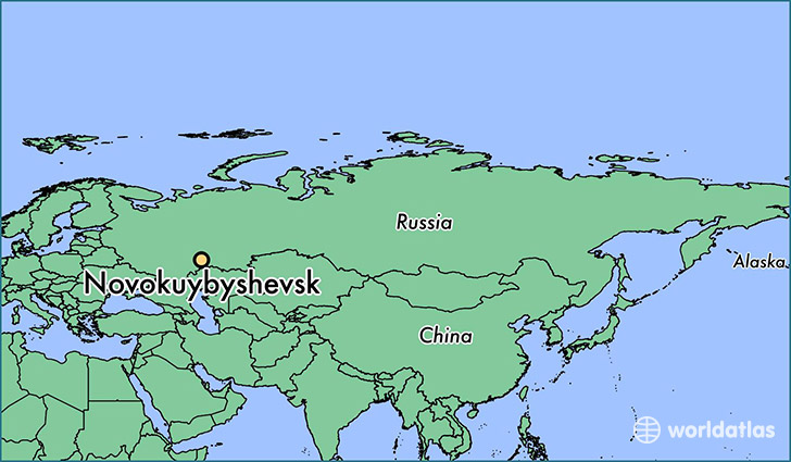 map showing the location of Novokuybyshevsk